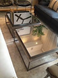 ideas mesmerizing mirrored coffee table with glass and wood