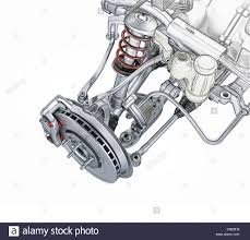 multi link front car suspension with brake perspective view