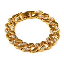 gold bracelet set images New mens bracelets bling rhinestone gold necklace bracelet set jpg