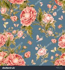 seamless watercolor pattern roses butterflies e stock illustration