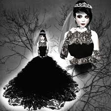 second life marketplace black lace gothic wedding gown vampire