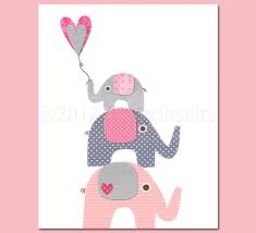 Pink Elephant Nursery Decor Pink And Grey Elephant Nursery Nursery Room Decor 8x10