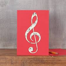 musical cards vintage treble clef card by bombus notonthehighstreet