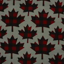 canadiana fleece prints buffalo plaid maple leaf red on grey