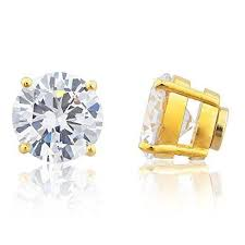 magnetic earrings goldtone magnetic earrings with clear cz 4mm to 12mm