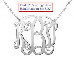 monogram sterling silver necklace monogram necklace etsy