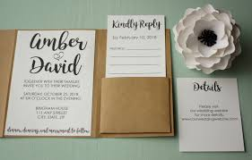 invitation pockets rustic wedding invite suite envelopes