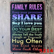 family rules tin sign vintage wall art keep your promises poset