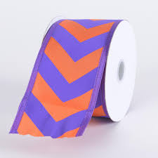 cheap ribbons chevron print satin ribbon purple with orange w 1 1 2 inch l