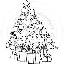 cartoon christmas tree black and white line art by ron leishman