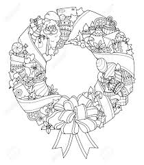 christmas wreath doodle pattern with balloons bells sweets