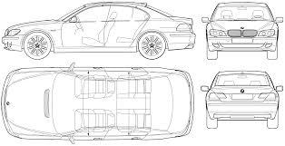 2006 bmw 7 series e65 sedan blueprints free outlines