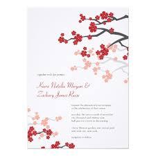 Asian Wedding Invitation Red Sakura Cherry Blossoms Asian Wedding Invite Zazzle Com