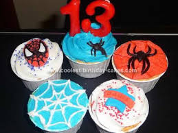cool homemade spiderman cupcakes