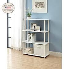 modern bookcase 5 shelf display stand bookshelf room divider wood