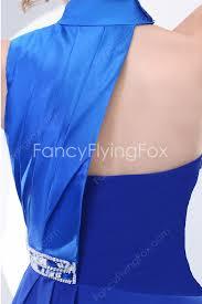 royal blue one shoulder short asymmetrical hem prom dress with