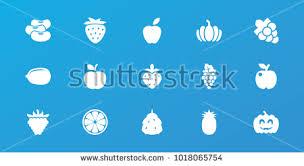 editable fruit editable 15 fruit icons berry lemon stock vector 1018065754