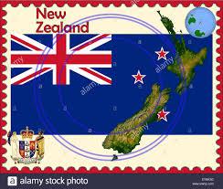 New Zealand Map New Zealand Map Flag Coat Stamp Stock Vector Art U0026 Illustration