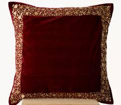 Cushions Velvet Velvet Throw Pillow Maroon Velvet Cushion With Gold Sequin