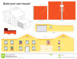 printable model house template paper model house yellow stock vector illustration of fold 37491571
