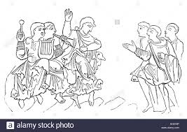 anglo saxons hair stiels a cartoon of an anglo saxon s dancing in 8th century england stock