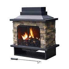 Outdoor Fire Place by Sunjoy Huntsville 42 In X 24 In Steel Faux Stone Outdoor