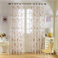 Modern Curtains For Kitchen by Sinogem Tropical Floral Printed Sheer Curtains For Living Room