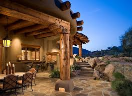 flagstone patio patio southwestern with covered patio bbq