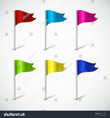 Pin Flags Set Colorful Flag Pin Map Pointer Stock Vector 640410052