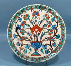 Ottoman Tulip by Antique Ottoman Turkish Iznik Plate Charger Faience Ceramic