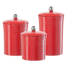 red ceramic kitchen canisters 1950 s kitchen canisters 4pc ceramic