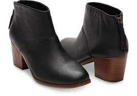 womens black leather boots canada black grain leather s leila booties toms