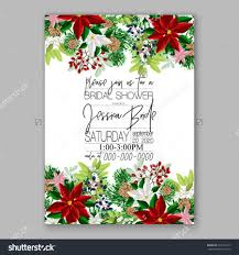 Sample Invitation Card For Christmas Party Bridal Shower Invitation Card Template With Winter Bridal Bouquet
