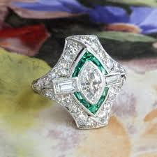art deco diamond engagement ring 1 70ct t w green lab emerald