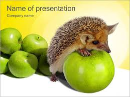 hedgehog with apple powerpoint template u0026 backgrounds id