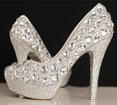 wedding shoes and bags glitter handmade diamond sparkly wedding party dress women