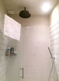 Small Bathroom With Black Hexagon by Small Wet Room With White Metro And Hexagon Tiling Black