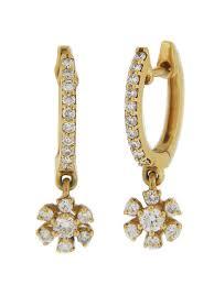 childrens gold hoop earrings 0 45ct diamond 18k yellow gold hoop dangle flower kids earrings at