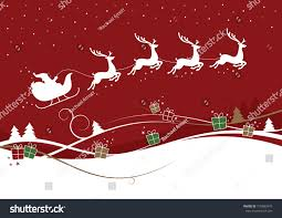 illustration reindeer pulling sleigh trees stock vector