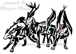 tribal deer and wolves commission by dansudragon on deviantart