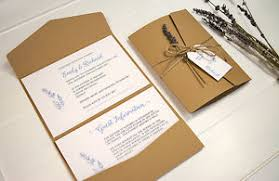 pocket fold rustic lavender pocketfold wedding invitation with twine tag