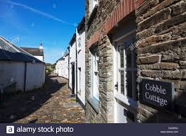 boscastle cornwall narrow cobbled streets and small cottages blue