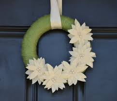 handmade christmas wreath holiday wreath with cream poinsettias