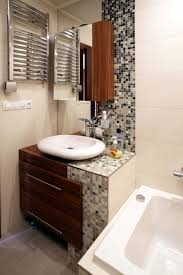 large mosaik modern bathroom backsplash ideas with corner vanity