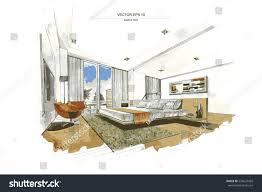 vector interior sketch design bedroom watercolor stock vector
