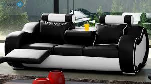 couch 3 sitzer alaska 3 sitzer couch sofa echtleder pu schwarz weiss emoebel24