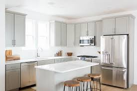 Light Kitchen Countertops Light Grey Shaker Kitchen Cabinets With White Quartz Countertops