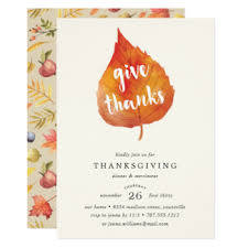 watercolor thanksgiving dinner invitations announcements