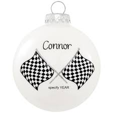 personalized checkered flag racing glass ornament occupations