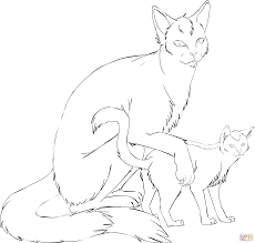 cat mother with kitten coloring page free printable coloring pages